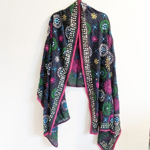 Colorful Embellished Wrap Embroidery Mirrored